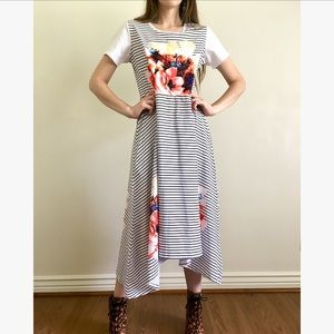 Floral and Striped Short Sleeve Dress
